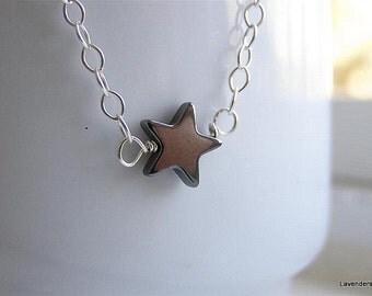 Star Necklace , Hematite Star, Sterling Silver Necklace , Modern Minimalist Jewelry
