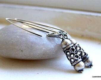 Sterling Silver Earrings , Long Hook , Spiral , Oxidized , Rustic Jewelry , Modern