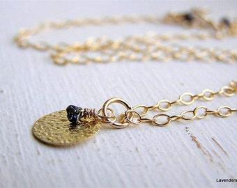 Rough  Diamond Necklace ,  Black Raw Diamond Necklace , Textured Disc Necklace , Diamond Jewelry ,  April Birthday  Stone