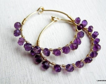 Amethyst Earrings , Amethyst Gold Hoop Earrings , Gemstone Hoops , Wire Wrapped , Gold Fill , February Birthstone