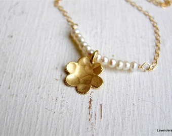 Gold Flower Necklace , Pearl  Necklace , Hammered Flower Charm Necklace, Gold Fill , Modern Everyday  Necklace, June Birthday , Bridal
