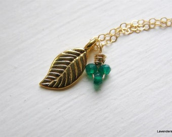 Gold Leaf Necklace , Gold Necklace ,  Emerald Green Onyx Necklace  , May Birthstone , 14k Gold Fill , Everyday Jewelry