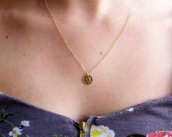 Gold Disc Necklace , Hammered  Disc Charm , Gold Fill Pendant , Simple , Everyday Jewelry , Dainty