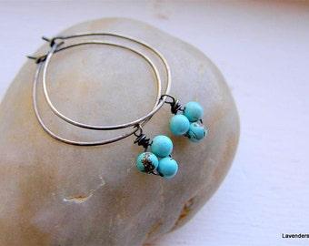 Turquoise Earrings , Turquoise  Hoop Earrings , Turquoise  Silver Earrings , Turquoise Jewelry , Gemstone Earrings , December Birthstone