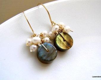 Labradorite Earrings , Pearl Earrings ,  Wire Wrapped , Stone dangle earrings , Gemstone Earrings