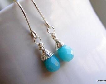 Petite Amazonite  Earrings , Sterling Silver , Aqua Blue , Simple , Everyday Jewelry