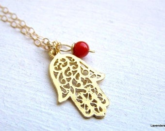Hamsa Necklace , Gold Hamsa, Filigree Hand Charm , Red Coral  , Gold Fill , Hamsa Jewelry , Eveil Eye