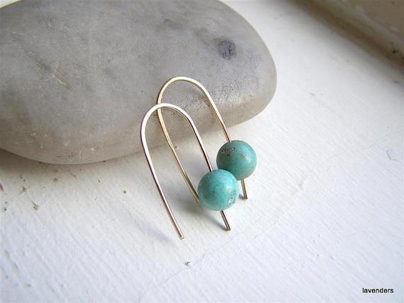 Turquoise  Earrings , Mini Gold Fill Hook Earrings , modern minimalist ,  December Birthday