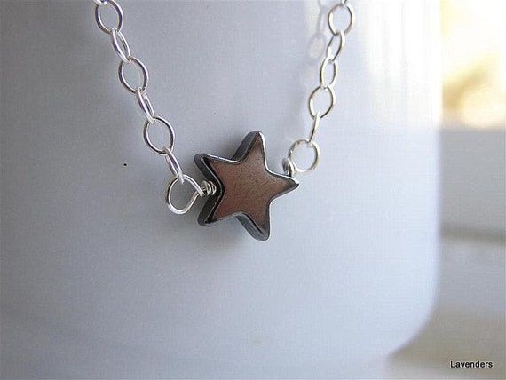 Star Necklace , Hematite Star, Sterling Silver Necklace , Modern Minimalist Jewelry