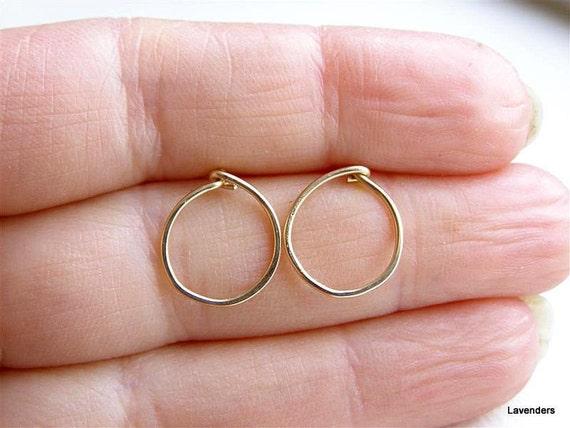 Karma stud earring , Circle Post Earrings ,  Gold Fill , Large  Gold Stud Earrings , Modern , Minimalist , Zen Jewelry