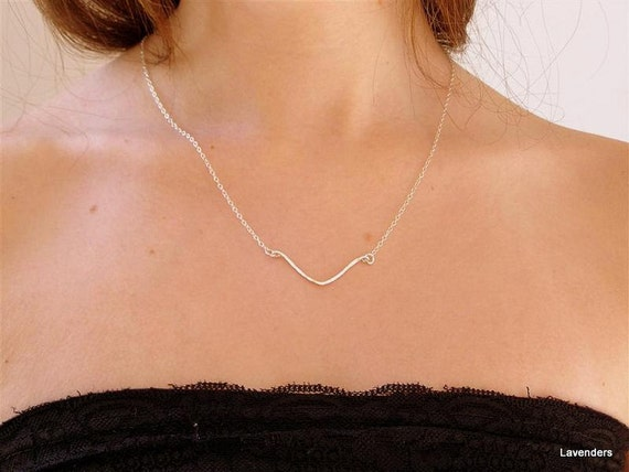 Silver Wings  Bar Necklace , Sterling Silver Necklace , Modern , Minimalist Jewelry