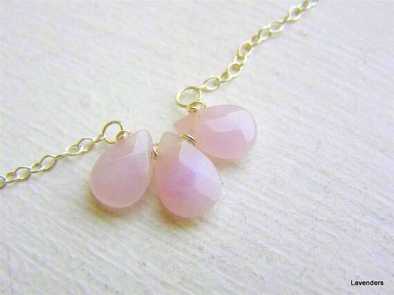 Rose Quartz Necklace , Sterling Silver , Love Stone Necklace , Trio Stone Necklace , Valentine's Day