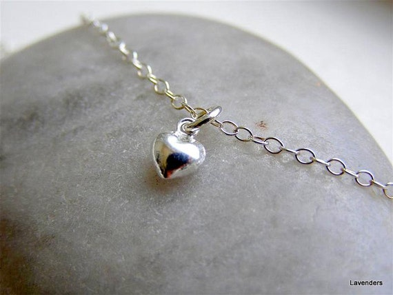 Tiny Silver Heart Necklace , Puffy Heart charm