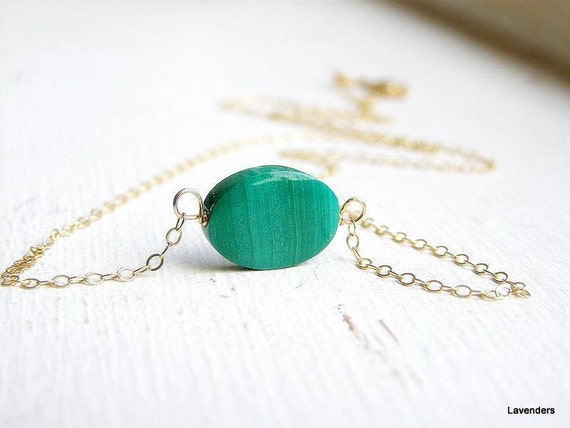 Malachite Necklace , Single Stone Necklace , Gold Fill , Modern , minimalist Jewelry.