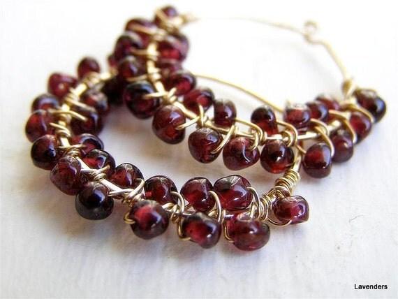 Garnet  Earrings , Garnet Gold Hoop Earrings , Gemstone Hoops , Wire Wrapped , Gold Fill , January Birthstone , Garnet Jewelry