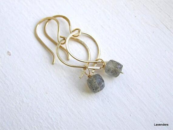 Labradorite  Gold Earrings , Gold Fill , Dangle Earrings
