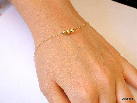 Gold Beaded Bracelet , Trio Gold Fill Beads , Modern , Simple Everyday Jewelry , Adjustable