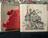 Haunted house rubber stamp from oldislandstamps