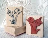 Tulips flower rubber stamp from oldislandstamps