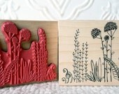 Field of Flowers rubber stamp from oldislandstamps