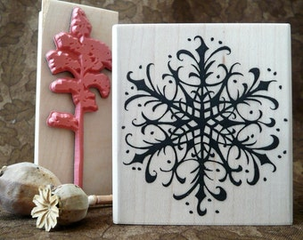 Snowy Snowflake rubber stamp from oldislandstamps