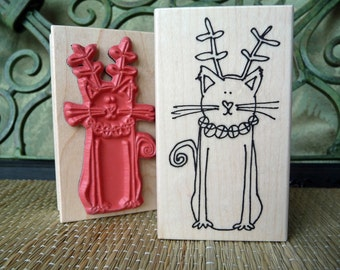 Christmas Cat rubber stamp from oldislandstamps