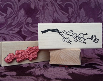 Cherry Blossom branch rubber stamp from oldislandstamps