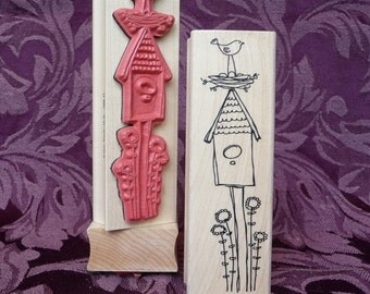 Community  Bird house rubber stamp from oldislandstamps