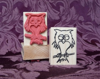 Who gives a hoot owl rubber stamp from oldislandstamps