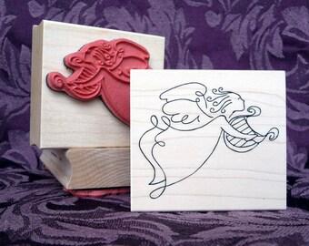 Heavenly harpist Angel rubber stamp from oldislandstamps