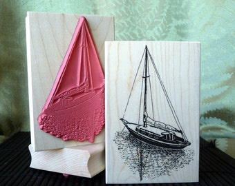 Sailboat rubber stamp from oldislandstamps