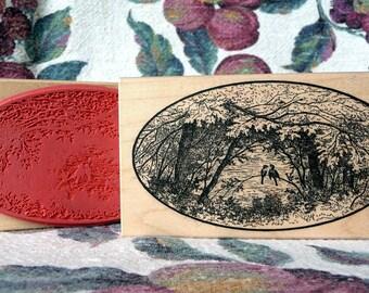 Oval Lovebirds in the Woods rubber stamp from oldislandstamps