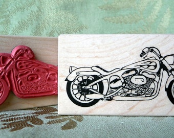 Twin V Motorcycle rubber stamp from oldislandstamps