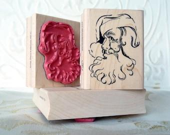Santa's Smile santa rubber stamp from oldislandstamps
