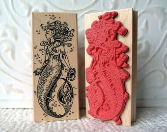 Mermaid rubber stamp from oldislandstamps