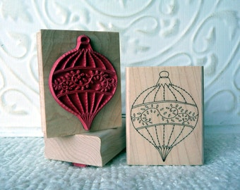 Fine Christmas tree Ornament rubber stamp from oldislandstamps