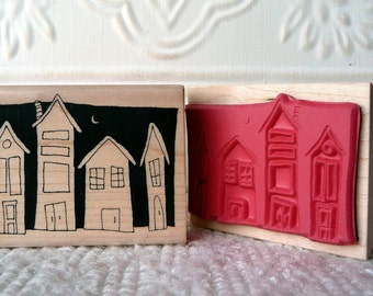 Night time houses rubber stamp from oldislandstamps