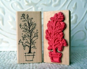 Potted Berries winter tree rubber stamp from oldislandstamps