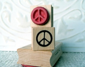 Peace sign rubber stamp from oldislandstamps