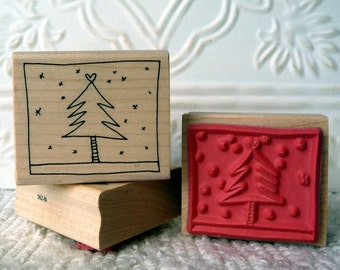 Framed Christmas Tree rubber stamp from oldislandstamps