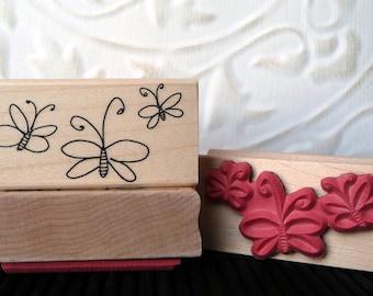 3 Wispy Butterflies rubber stamp from oldislandstamps