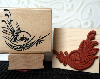Phoenix and Shou Chinese rubber stamp from oldislandstamps