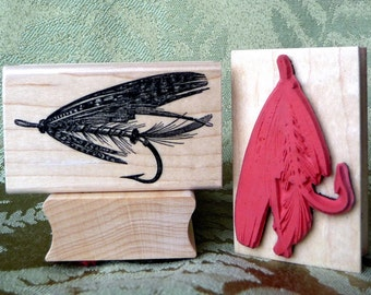 Fishing Fly Lure rubber stamp from oldislandstamps