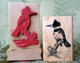 Kingfisher bird rubber stamp from oldislandstamps