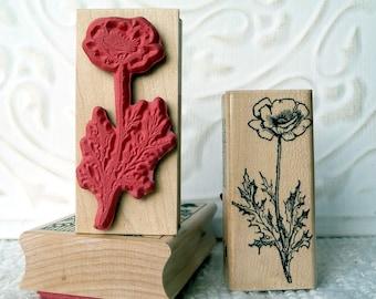 Poppy Flower rubber stamp from oldislandstamps