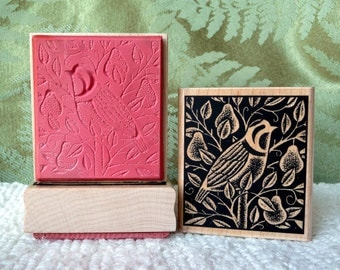 Partridge in a Pear Tree rubber stamp from oldislandstamps