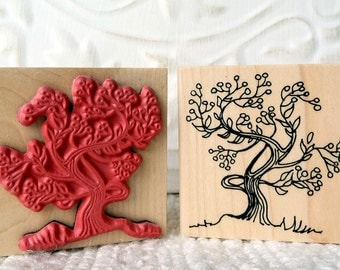 Winter Berries Tree rubber stamp from oldislandstamps