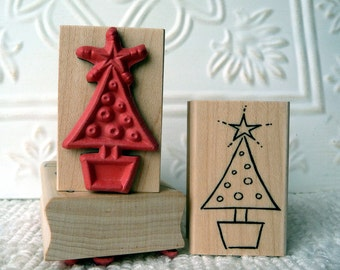 Little Potted Christmas Tree rubber stamp from oldislandstamps