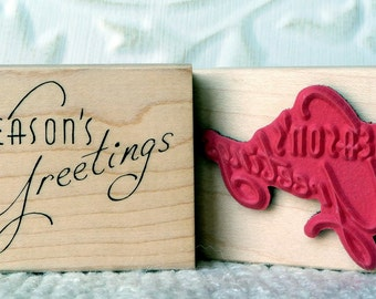 Retro Seasons Greetings rubber stamp from oldislandstamps