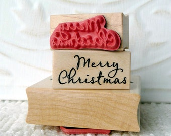 Merry Christmas script rubber stamp from oldislandstamps